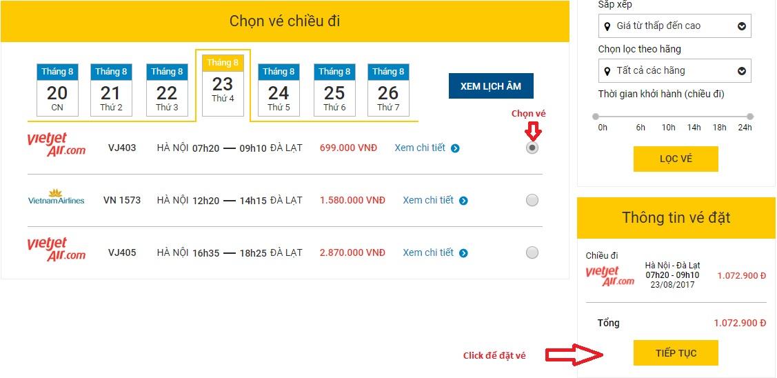vé máy bay đi đà lạt giá rẻ