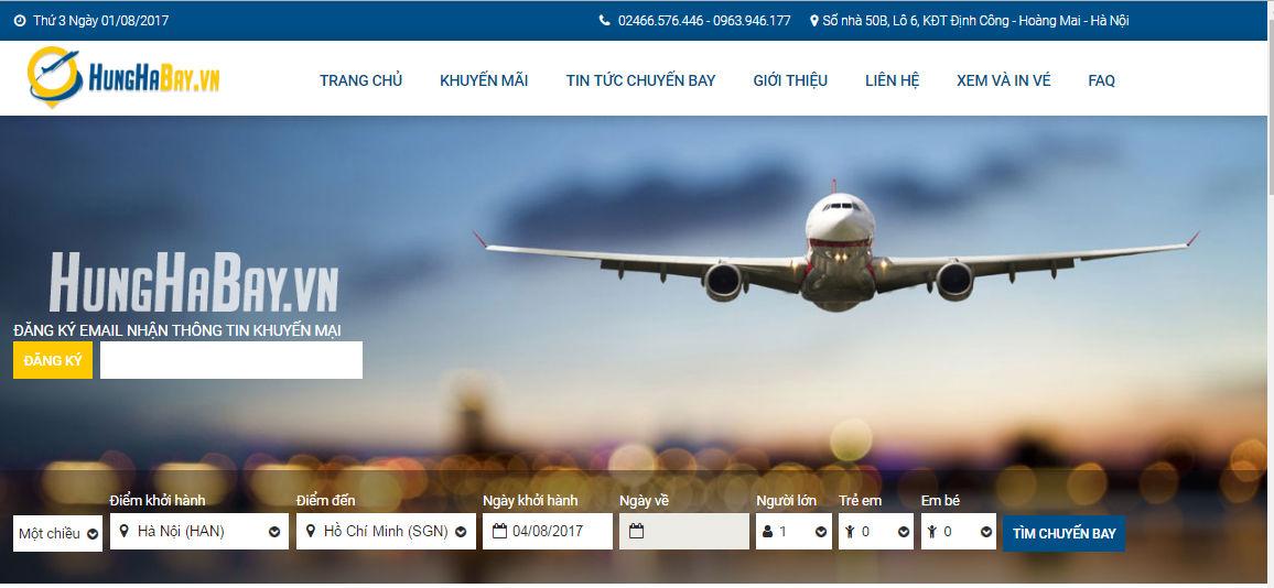 Đặt vé máy bay trực tuyến tại website Hunghabay.vn