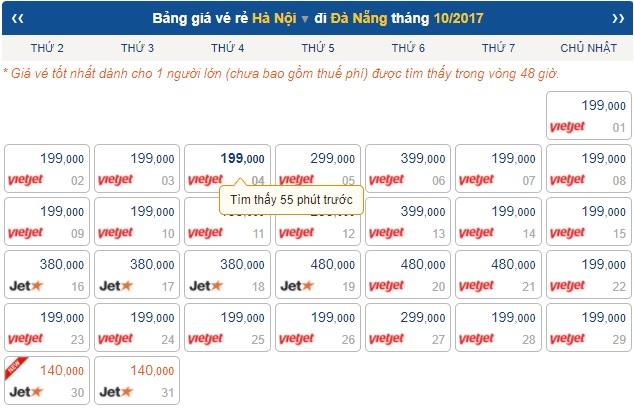 Bảng giá vé máy bay Hà Nội Đà Nẵng
