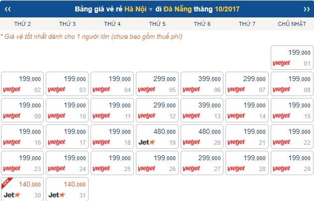 giá vé máy bay từ Hà Nội vào Đà Nẵng