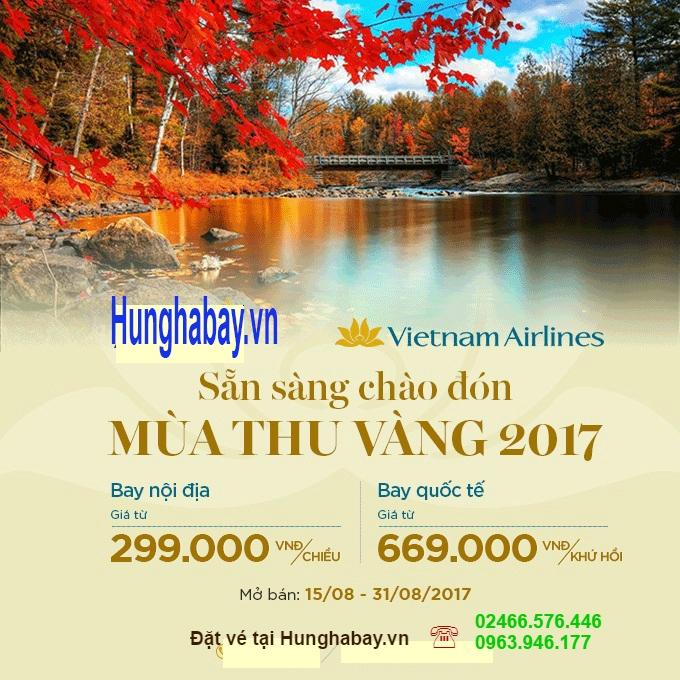 """Nhanh tay đặt vé máy bay với """"Mùa Thu Vàng 2017"""" của Vietnam Airlines"""